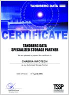 Tanberg Data Certified Authorised Storage Partner 2006